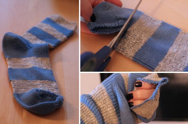 how to cut a sock for a sock bun