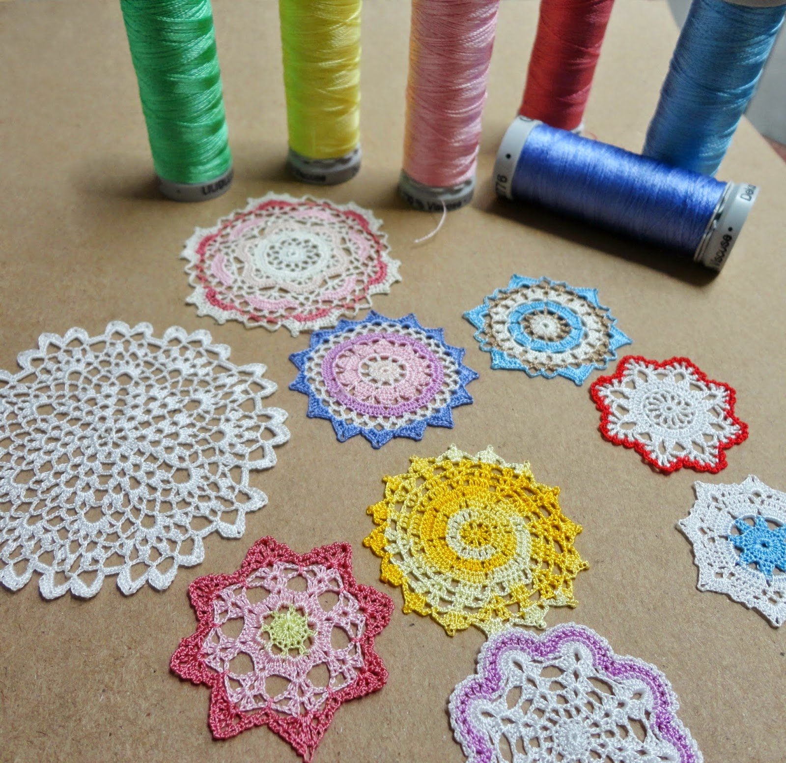miniature crochet doily, crochet mandala