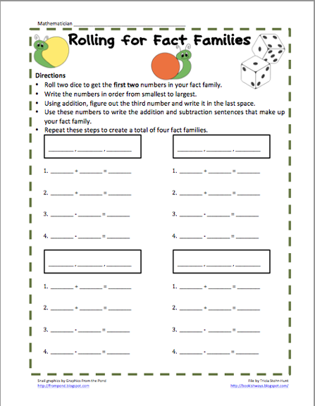 Number Names Worksheets : addition subtraction fact families ...