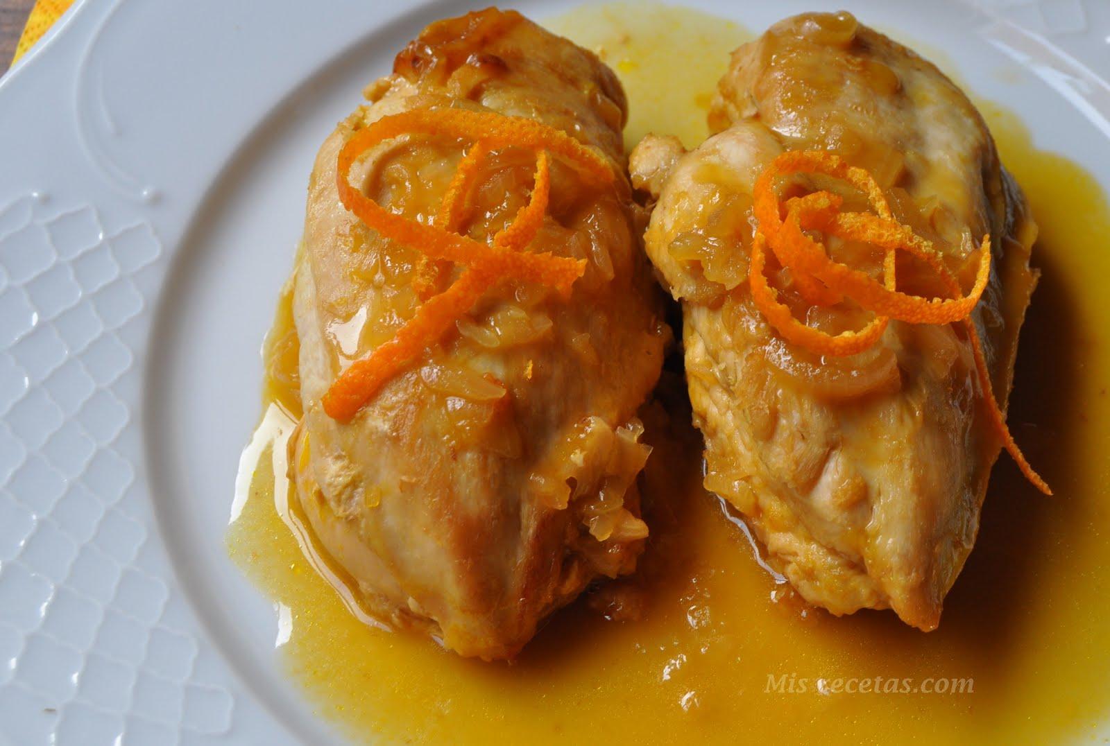 MIS RECETAS. COM: Pechugas de pollo a la naranja