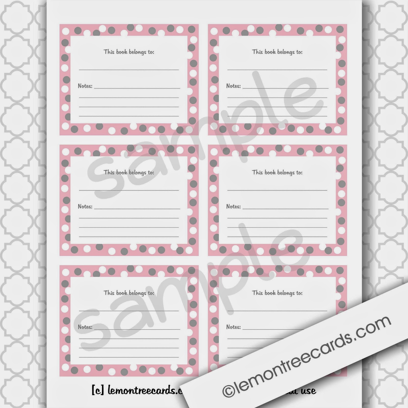 Soft pink printable bookplate labels