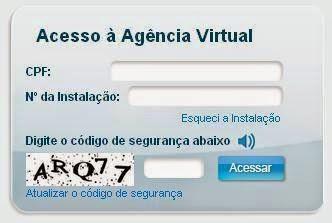 Página da Agência Virtual para consulta a 2 via AES Eletropaulo e imprimir
