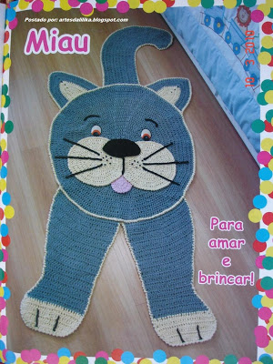 Tapete Infantil Gato em crochet