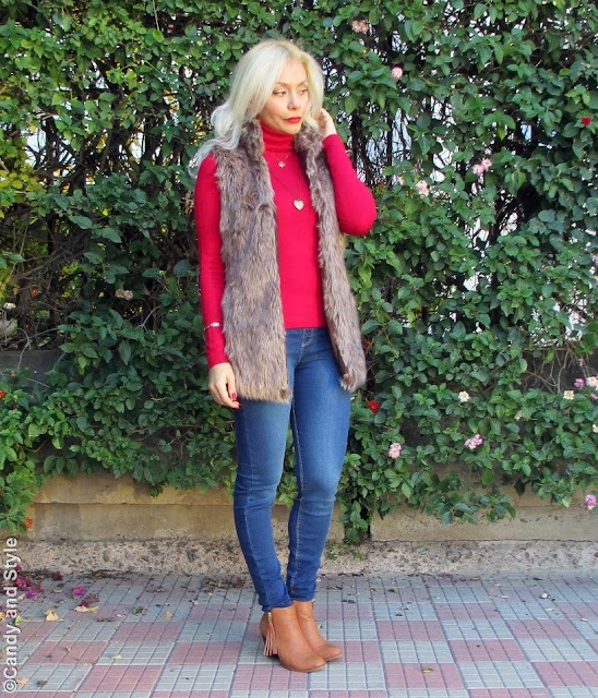FauxFurVest+RedTurtleneck+BlueJeggings+FringedBooties+BeachWaves+RedLips - Lilli Candy and Style Fashion Blog