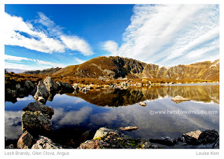 Glen Clova Loch snow reflection mirror image corrie geology scottish rock formation Hamilton Kerr