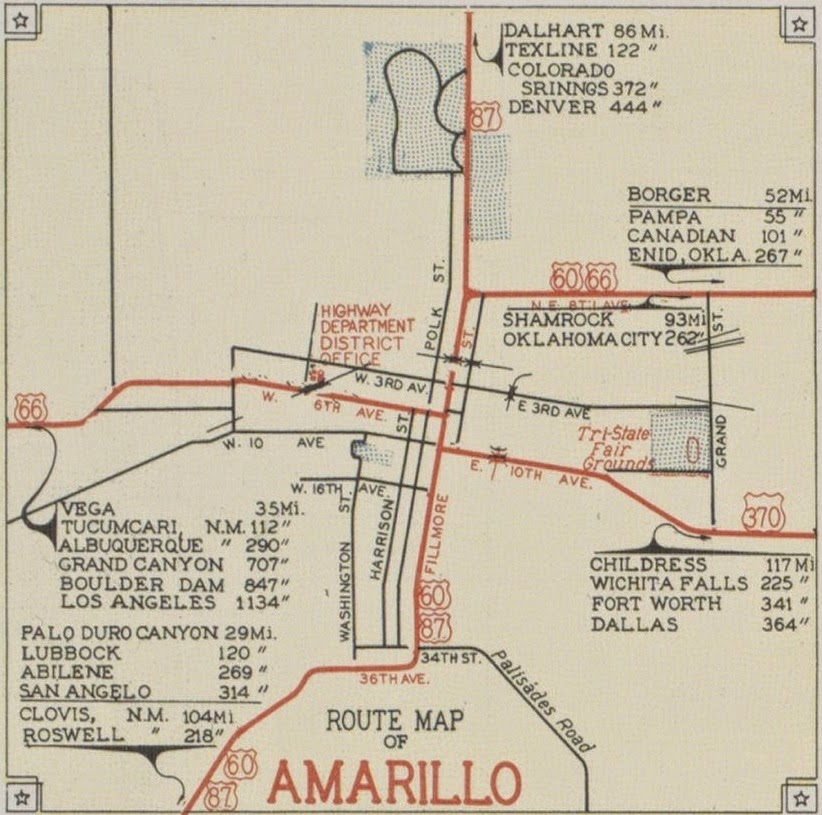 History of Amarillo Texas 1939 1941 Route Maps of Amarillo the