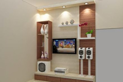 Gambar Interior 3D Desain Backwall TV Permainan Lampu dan Ambalan Mewah Lux
