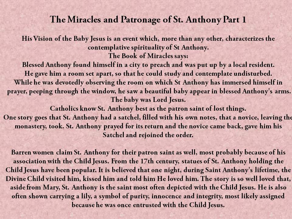 St Anthony Prayer Request For Miracles