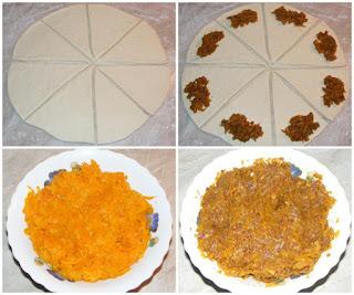 preparare cornuri cu dovleac, cum facem cornuri cu dovleac, cornulete cu dovleac, retete culinare, retete patiserie, dulciuri, deserturi, reteta cornuri de post,