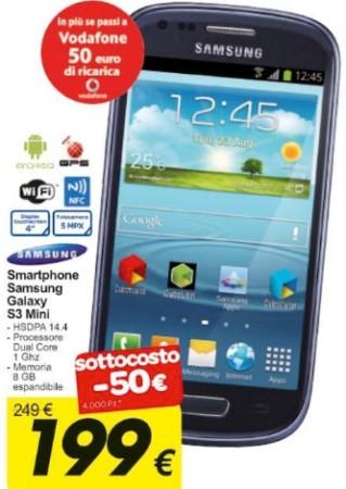 Sottocosto Carrefour che propone a 199 euro il Galaxy S 3 mini fino ai primi di settembre 2013: ben 4000 pezzi disponibili