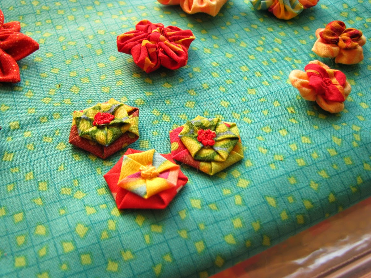 closeup fabric flowers