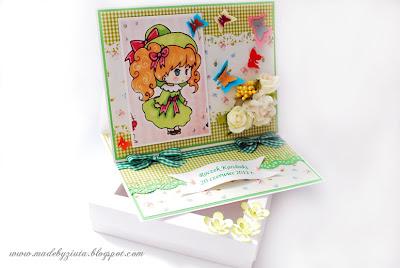 kartki okolicznościowe, kartka sztalugowa, urodzinowa dla dziewczynki, kartka na roczek, barbara wójcik