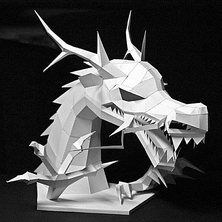 Papercraft asian dragon head for Cardboard dragon template