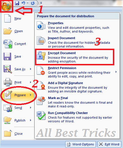 create password protect MS word document in Microsoft(MS) word7 and word10.