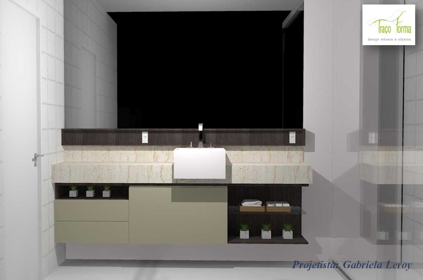 Gabriela Leroy Designer de Interiores: Projetos (Armario Banheiro). #3C4E65 1405 930