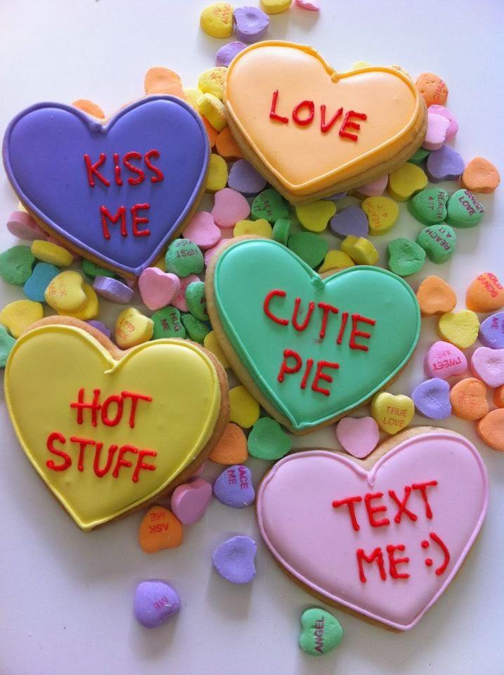 valentine conversation heart cookies