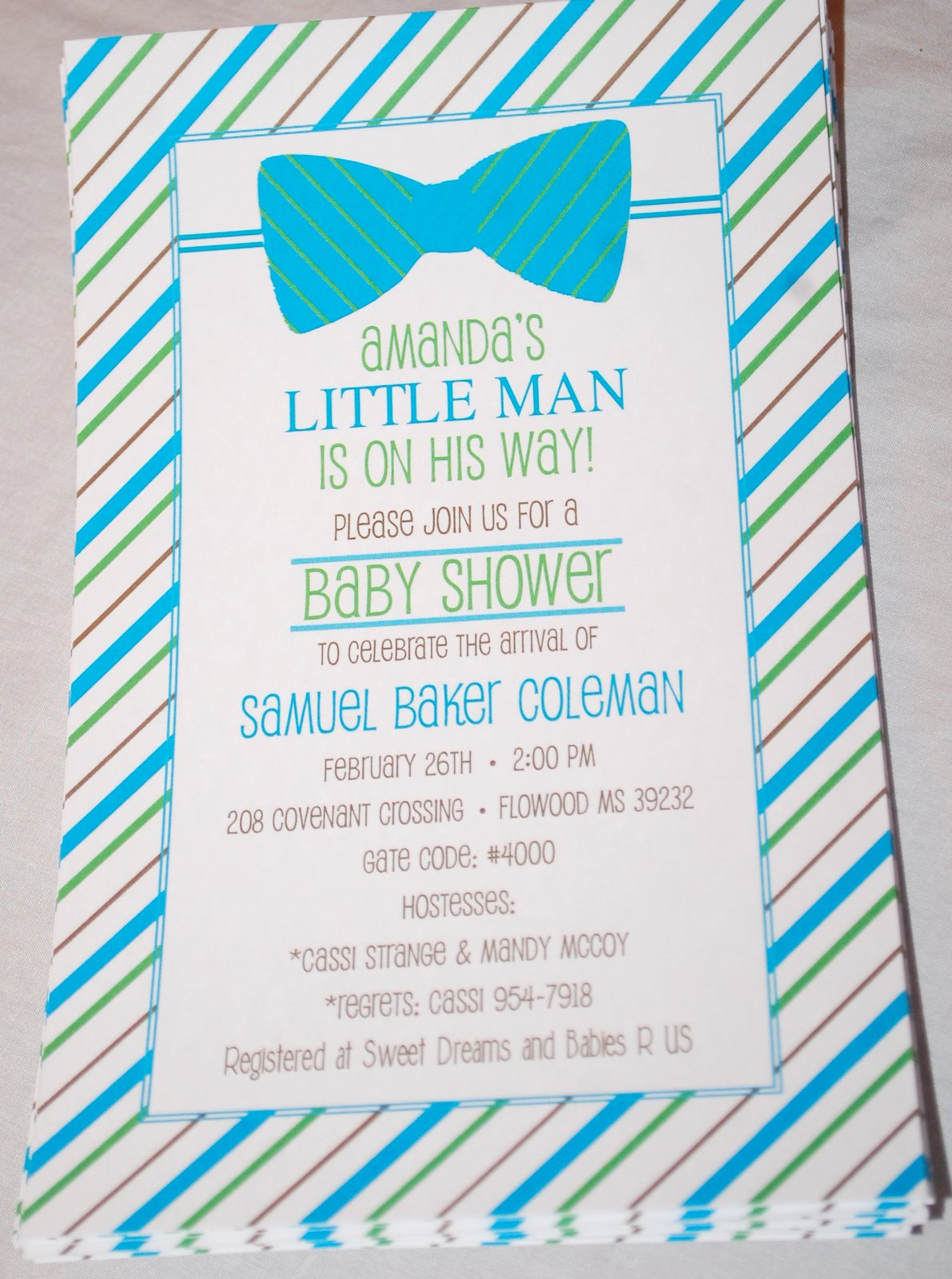 baby face design bow tie baby shower invitations