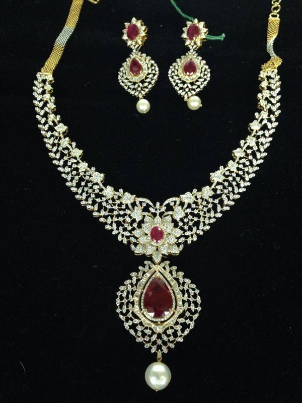 10 lakhs ruby diamond necklace set 22kgolddesigns