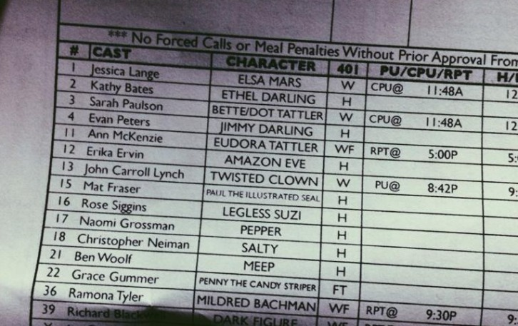 American Horror Story - Episode 4.01 - Characters Revealed in Leaked Call Sheet?
