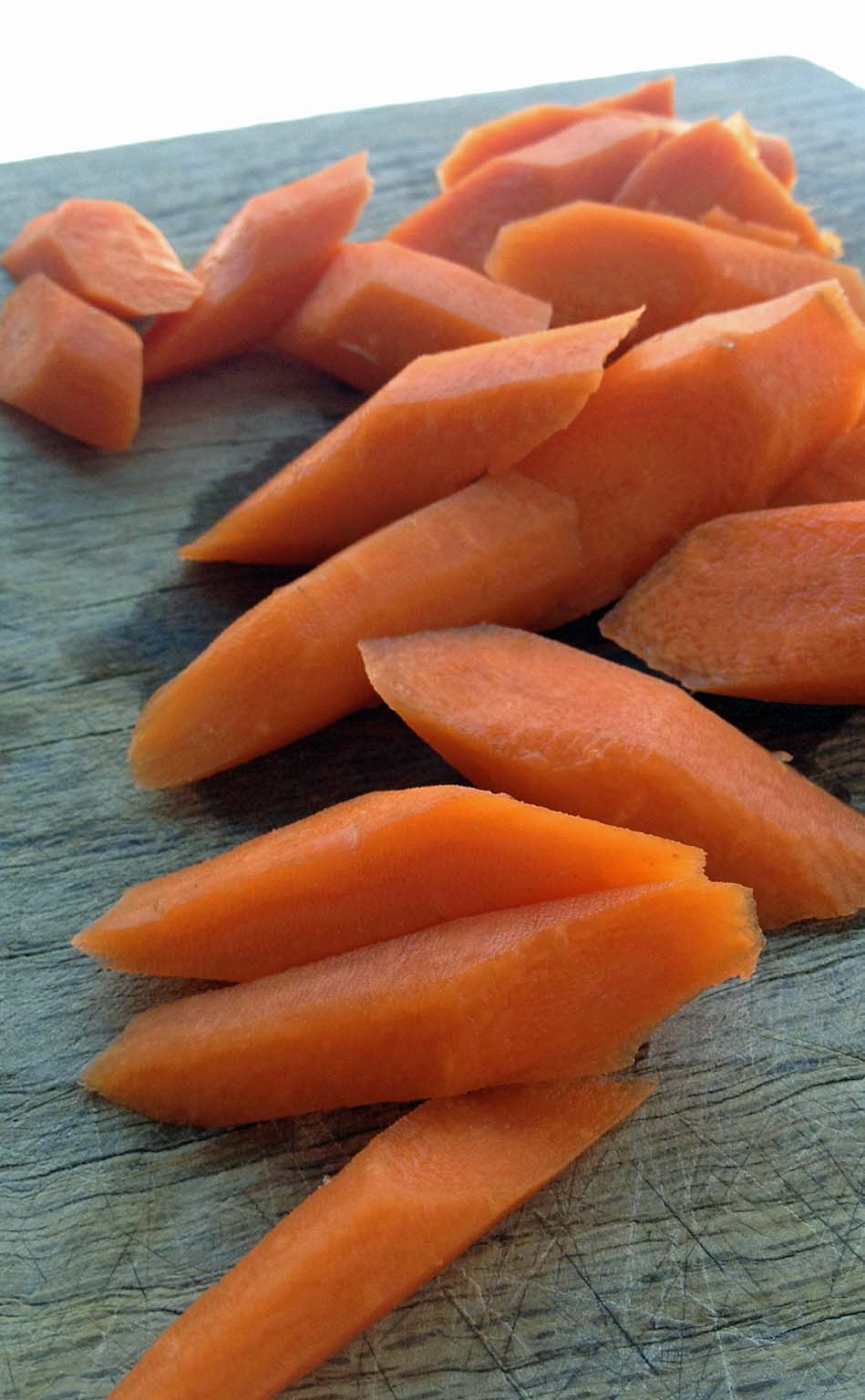 how to oblique cut carrots
