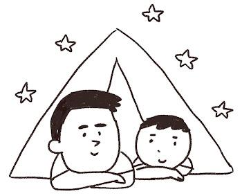 キャンプのイラスト「親子でテント」線画