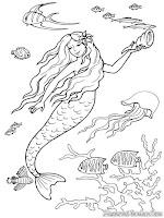 Gambar Barbie Putri Duyung Dan Binatang Laut Untuk Diwarnai