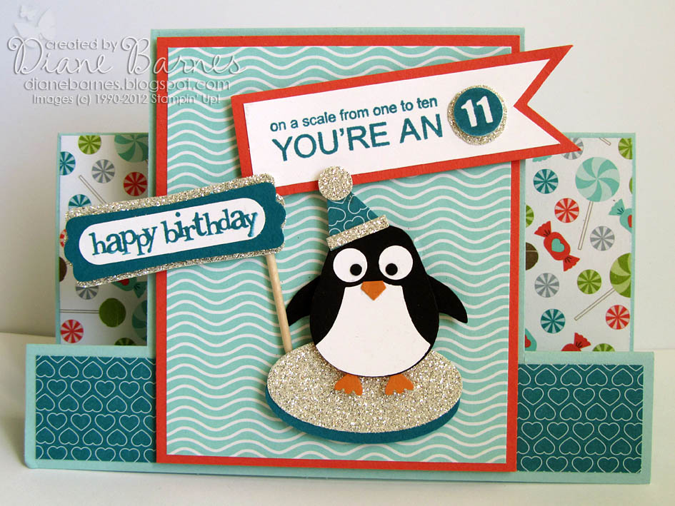 colour me happy sweet party penguin for cara, Birthday card