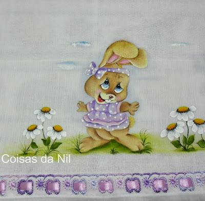 """fralda pintada para menina com coelha lilás"""