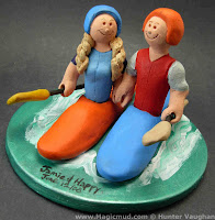 kayaking wedding cake toppers