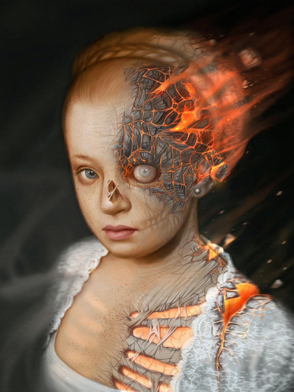 illustration de LaVata E. O'neal représentant une enfant en train de bruler