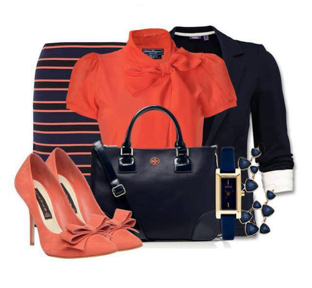 Orange shirt, black jacket, high heel sandals and hand bag for ladies