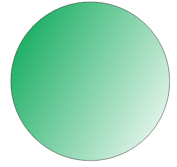 Buat kembali lingkaran sempurna dan berilah warna putih dengan
