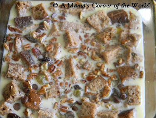 Banana bread pudding recipe ready to go into the oven