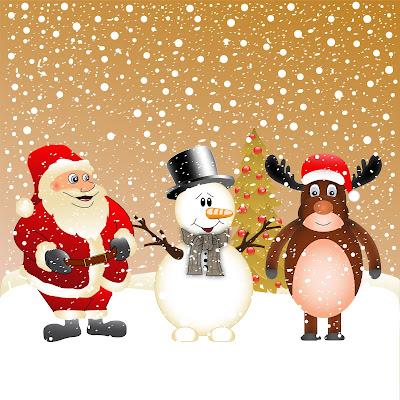 Santa Claus, Un muñeco de nieve y un reno en una bonita postal navideña