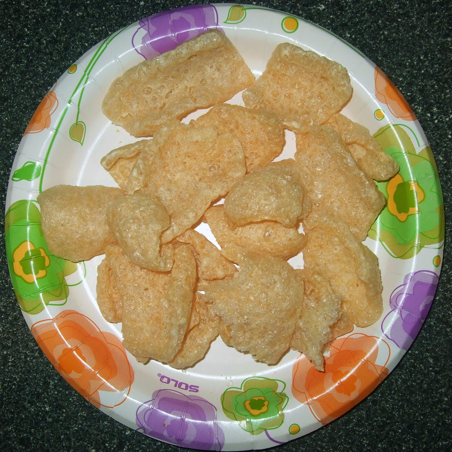 Pork rinds on a plate.