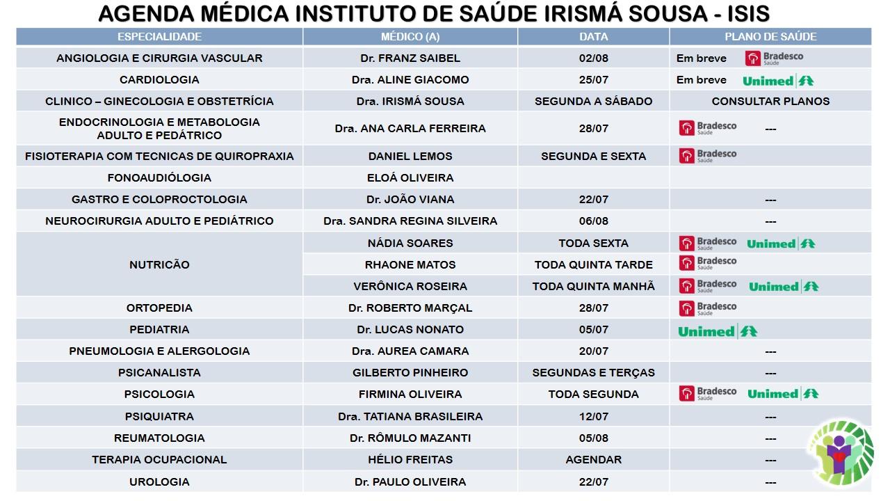 INSTITUTO DE SAÚDE IRISMÁ SOUSA (ISIS) AGENDA 2016