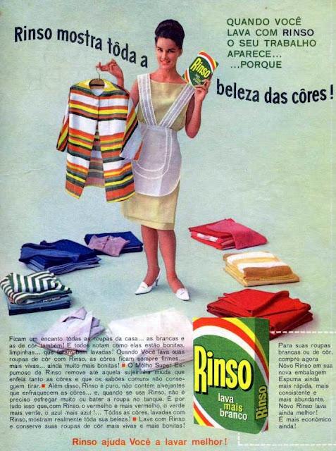 Propaganda do Sabão em Pó Rinso, com promessas de brancura impecável e beleza nas cores.
