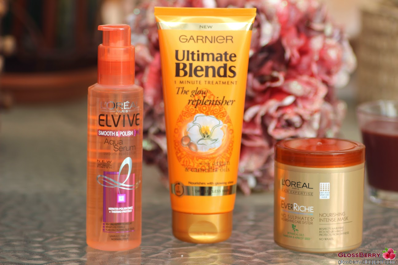 Loreal Ever Riche Mask, Garnier Ultimate Blends Glow Repelnisher, Elvive Smooth Polish Aqua Serum