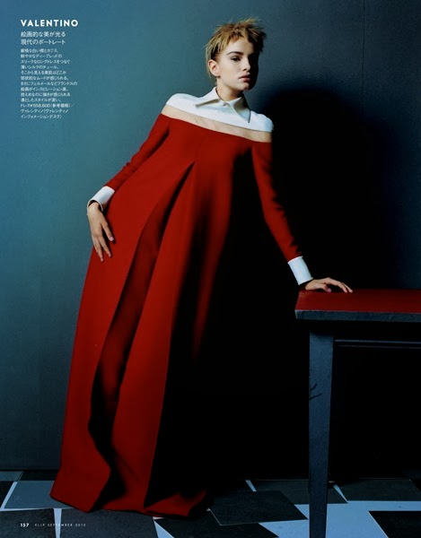 Valentino 2013 AW red maxi dress with white collar