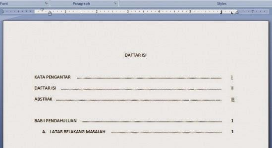 cara membuat daftar isi menggunakan Ms Office
