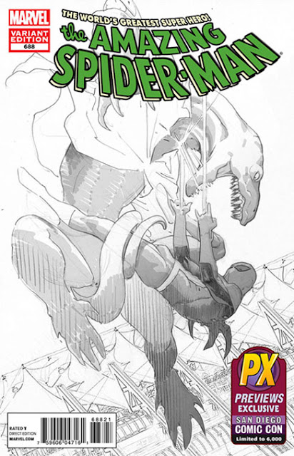 San Diego Comic-Con 2012 Exclusive Amazing Spider-Man #688 Sketch Variant Black and White Cover