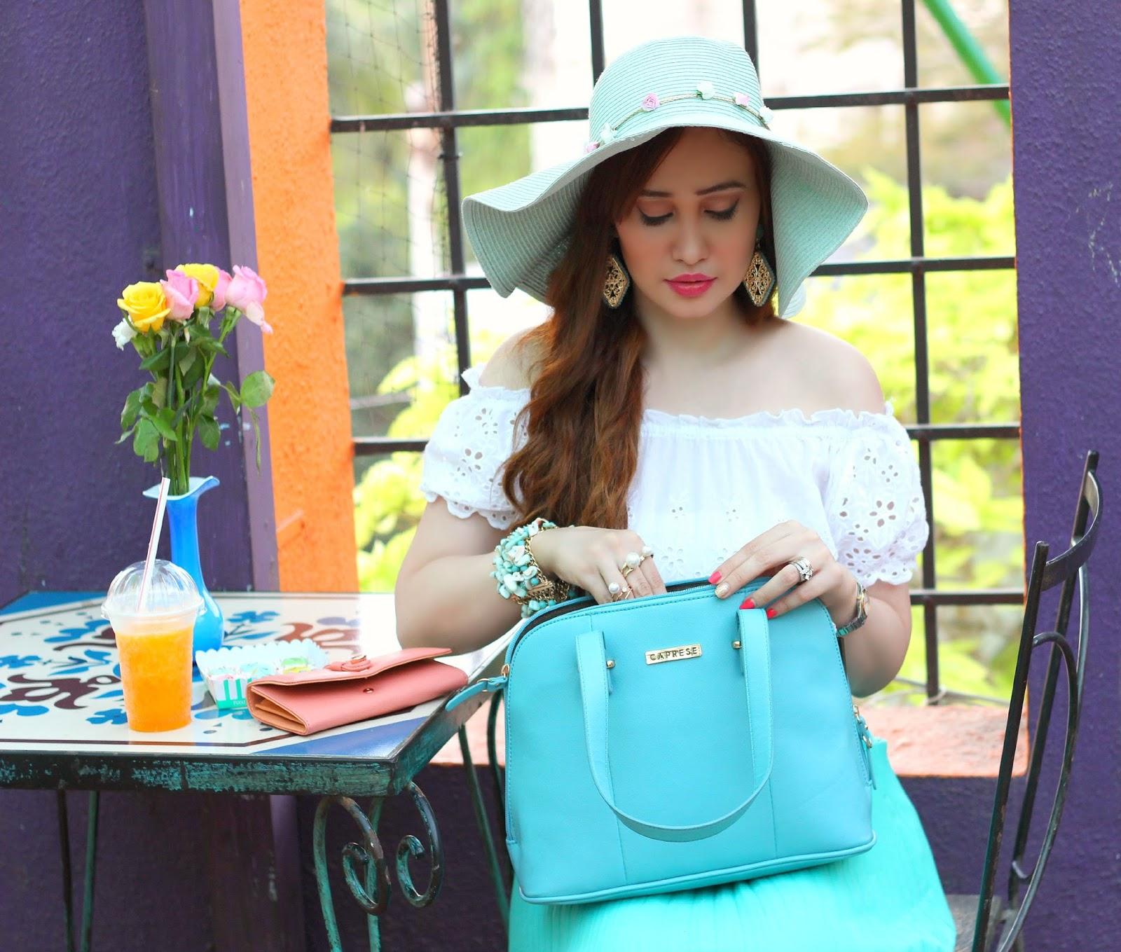 Caprese Zeta Satchel Medium in Light Blue, Sun Hat, Crop Top