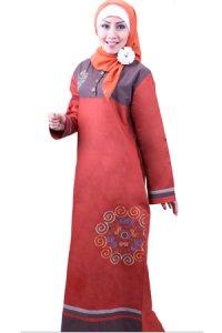 Najya Gamis J27 - Merah Bata (Toko Jilbab dan Busana Muslimah Terbaru)