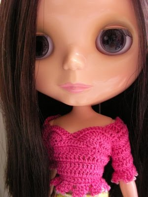 Blythe cable knit sweater pattern doll by mytreasuredheirlooms
