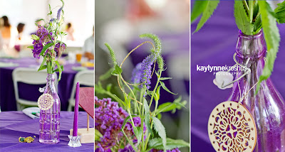 Eclectic purple wedding decor