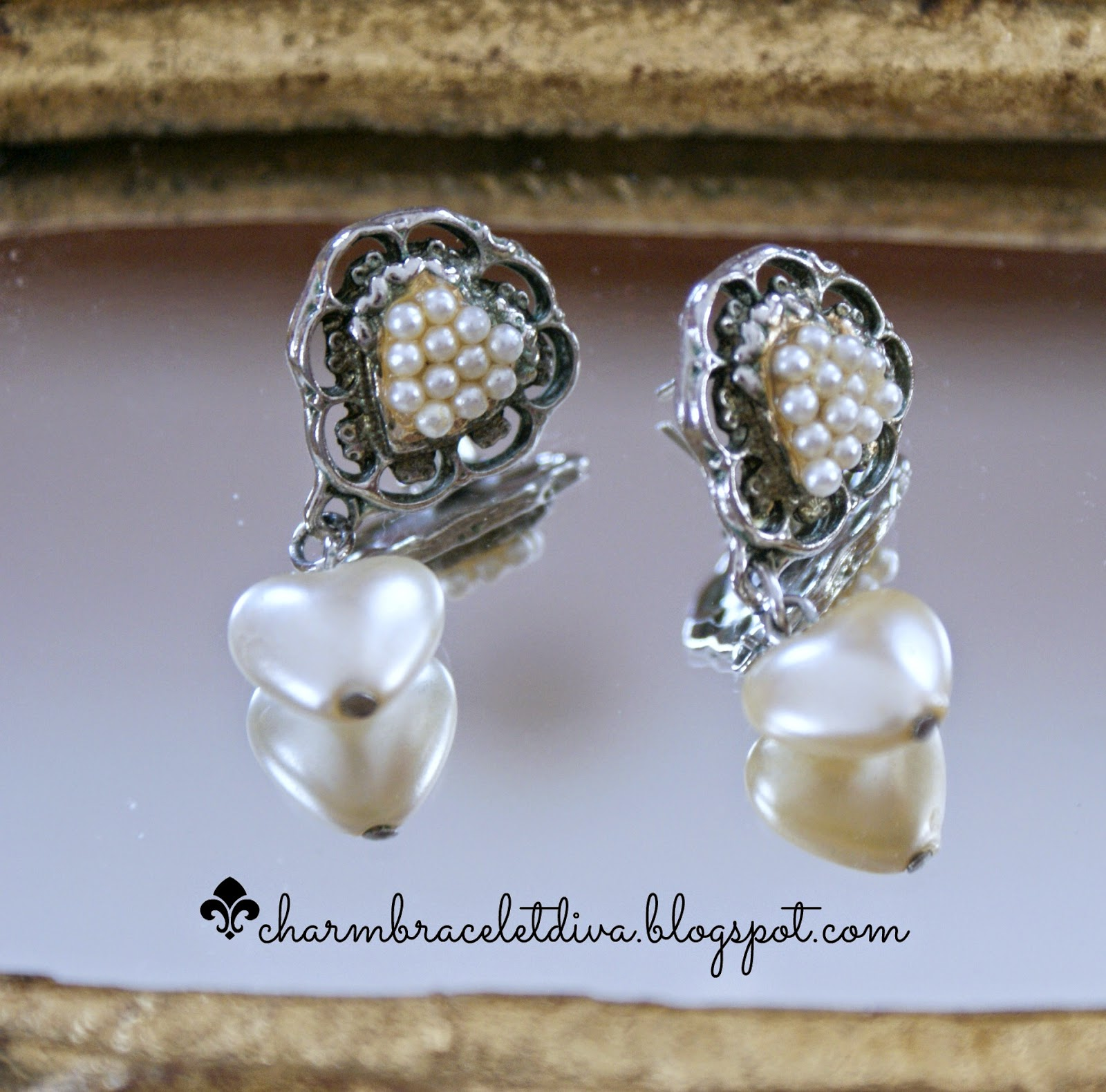 vintage pearl heart dangle earrings