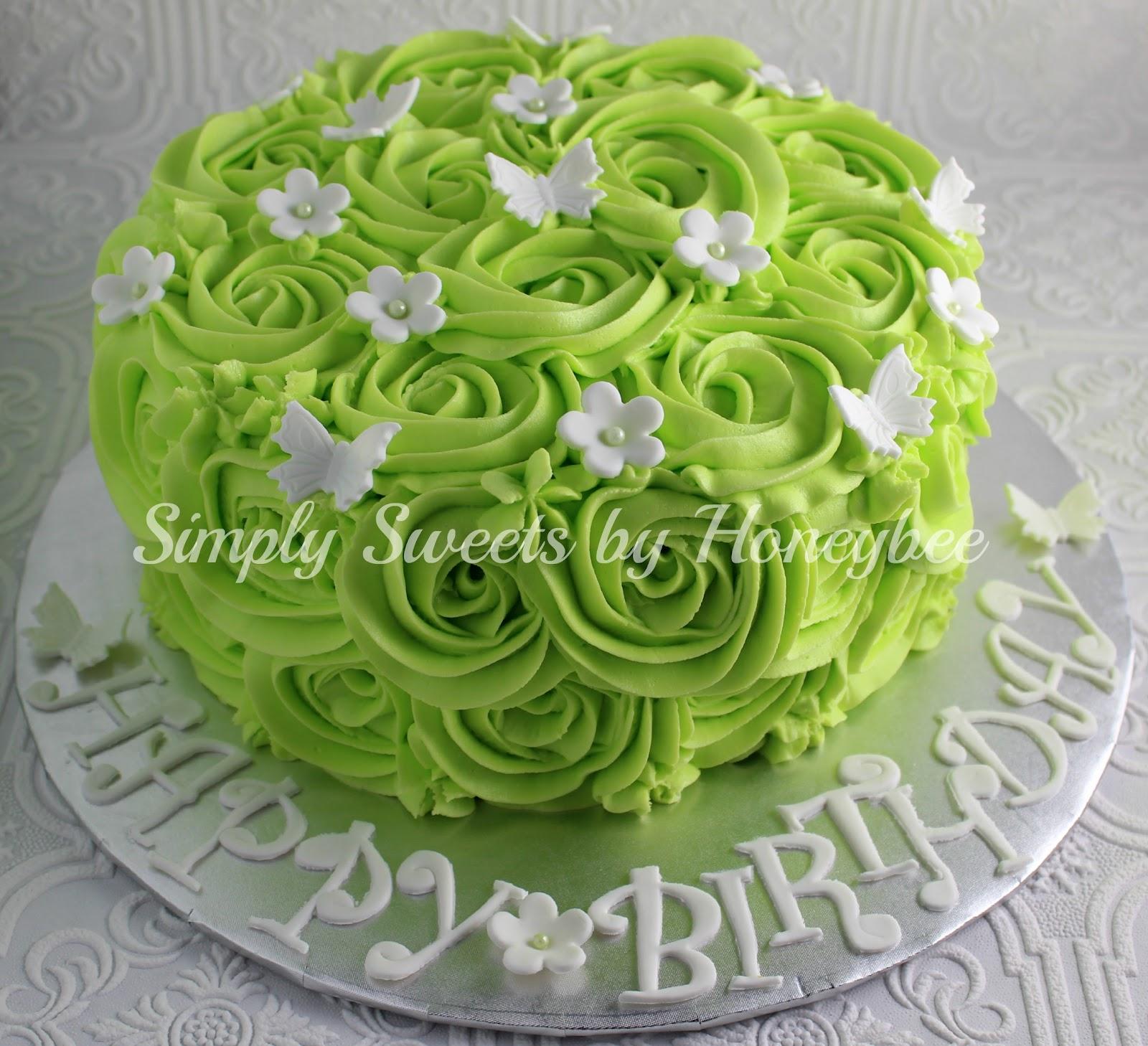 Rose Swirl Birthday Cake - simplysweetsbyhoneybee.com