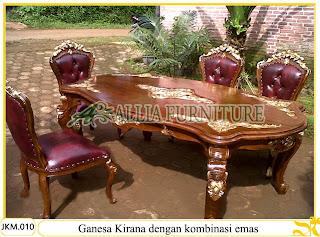 Kursi dan Meja Makan Kayu Jati dengan kombinasi emas Ukiran Ganesa Kirana