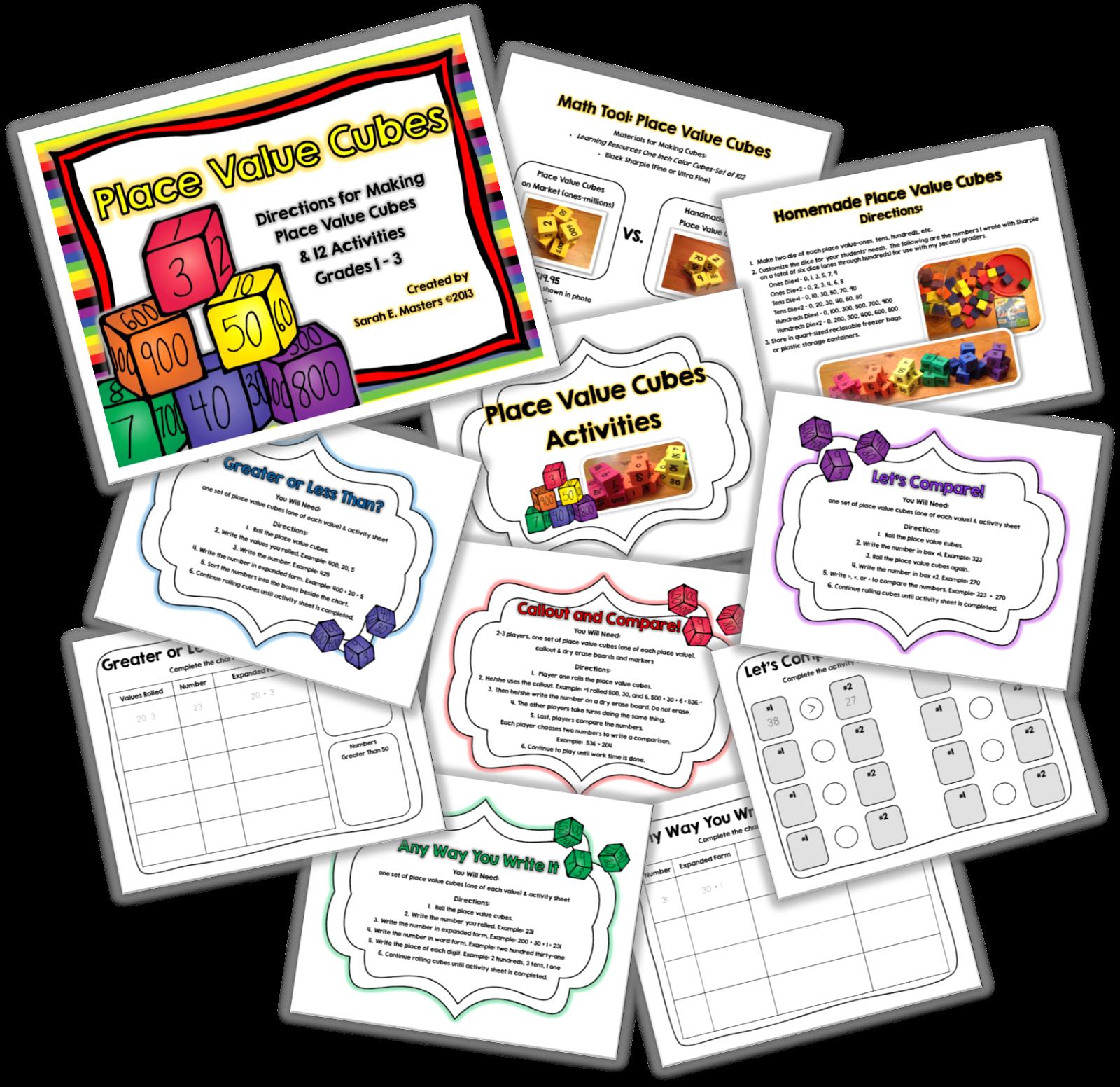 http://www.teacherspayteachers.com/Product/12-Place-Value-Cube-Activities-How-to-Make-Them-773266