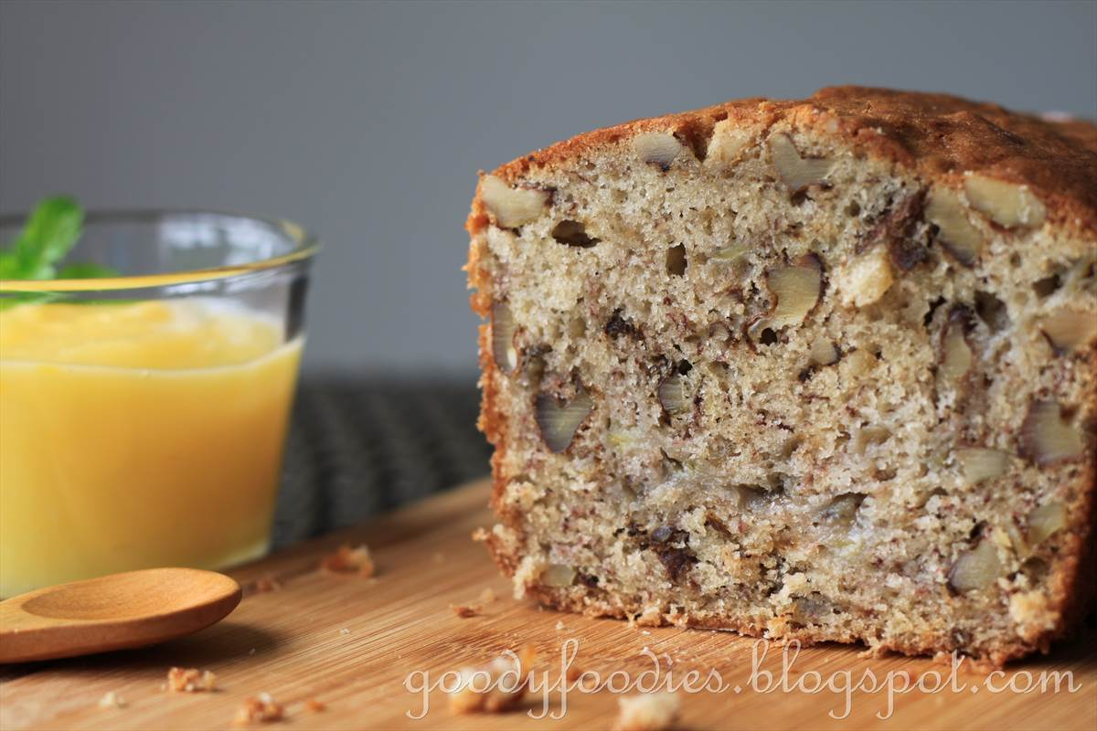 Goodyfoodies recipe banana walnut bread with fresh lemon curd banana walnut bread the mummy and baby d team baked this while baby c was in school a pretty straightforward bake baby d helped with all the simple forumfinder Choice Image